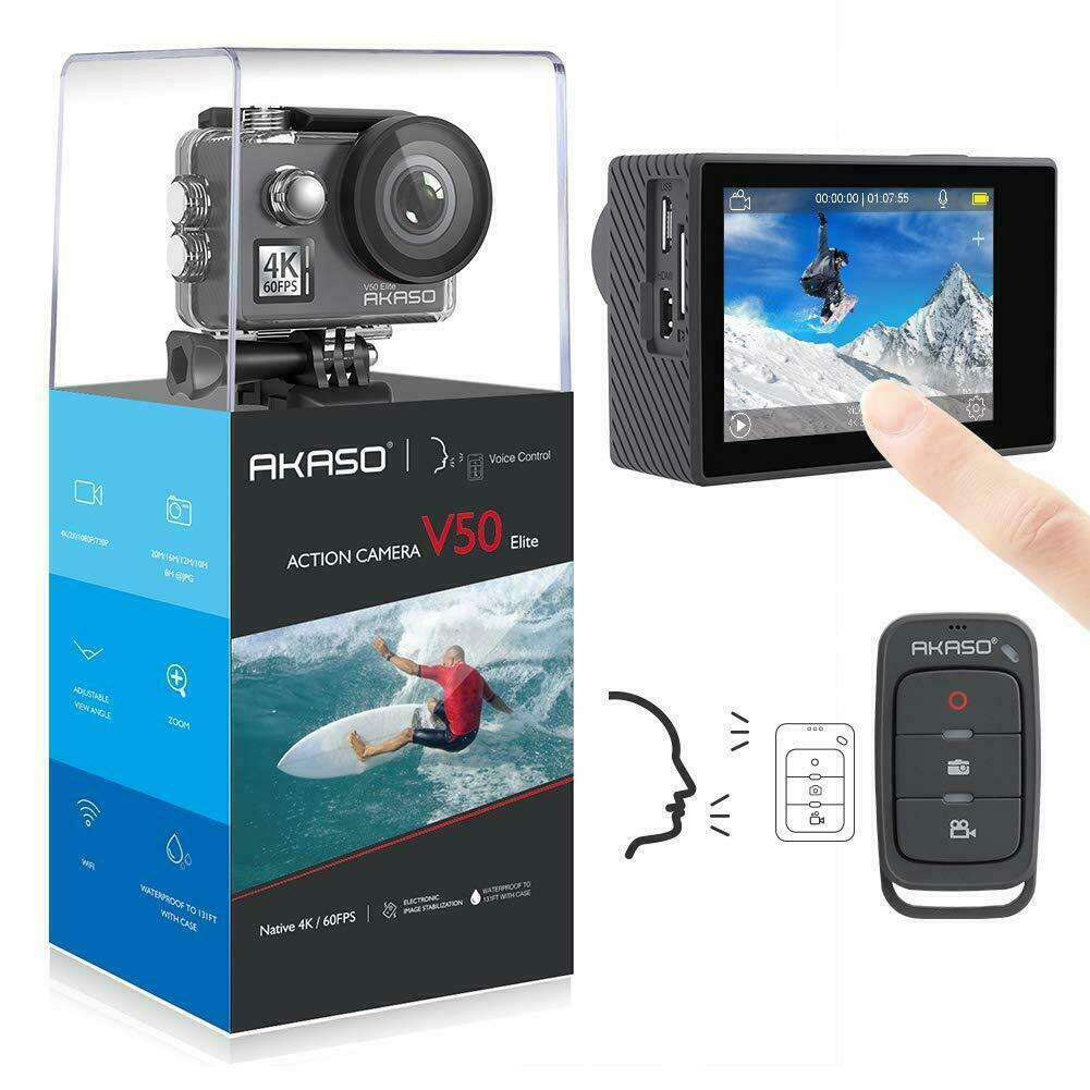 New Akaso V50 Elite 4K Ultra HD Action Camera 20MP WiFi Touch Screen + 32G SD US 20mp action akaso camera elite new touch ultra v50 wifi