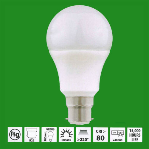 =60W 8x 9W LED GLS 6500K Daylight Opal BC B22 Bayonet Cap Light Bulb Lamp