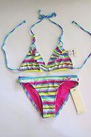 Roxy Brand Girls Sunny Lime Triangle Ruffle 2 Pc Bikini Swimsuit Island Tiles