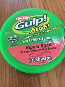"Berkley Gulp! Alive! 3""Ripple Shad Watermelon Shock Freshwater""13.7oz -SHIPS N24"