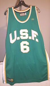low priced 1fd86 ca511 Details about San Francisco Dons Hardwood Legends Classic Green Bill  Russell #6 4XL Jersey