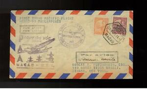 1937  Macau First Flight Cover FFC to Philippines