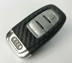 Audi Black Carbon Fiber Key Wrap Cover Smart Remote A1 A3 A4 A5 A6 A8 Tt Q3-afficher Le Titre D'origine