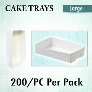 Paper Takeaway Food Trays 200Pk STD Medium Fish Chips Cake Tray Disposable Boxes