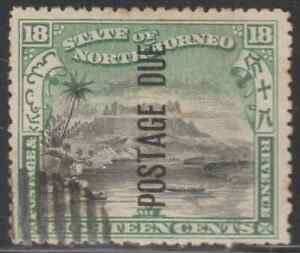 NORTH-BORNEO-1901-POSTAGE-DUE-18c-MT-KINABALU-CTO-CAT-RM-700-AS-POSTALLY-USED