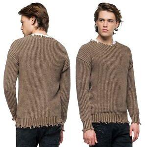 REPLAY-pullover-da-uomo-taglia-L-maglione-in-cotone-invernale-maglia-con-rotture