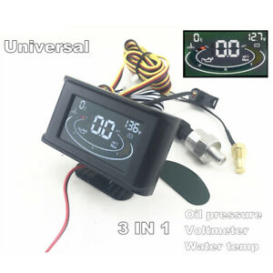 LCD-3-IN-1-12-24V-Car-Truck-Water-Temp-Oil-Pressure-Voltage-Gauge-w-Sensors