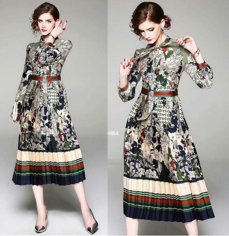 Elegant women's fashion temperament slim Lace Up printing High Waist Dress S-2XL