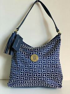 NEW-TOMMY-HILFIGER-GOLD-TONE-BLUE-BUCKET-HOBO-PURSE-SHOULDER-BAG-85-SALE