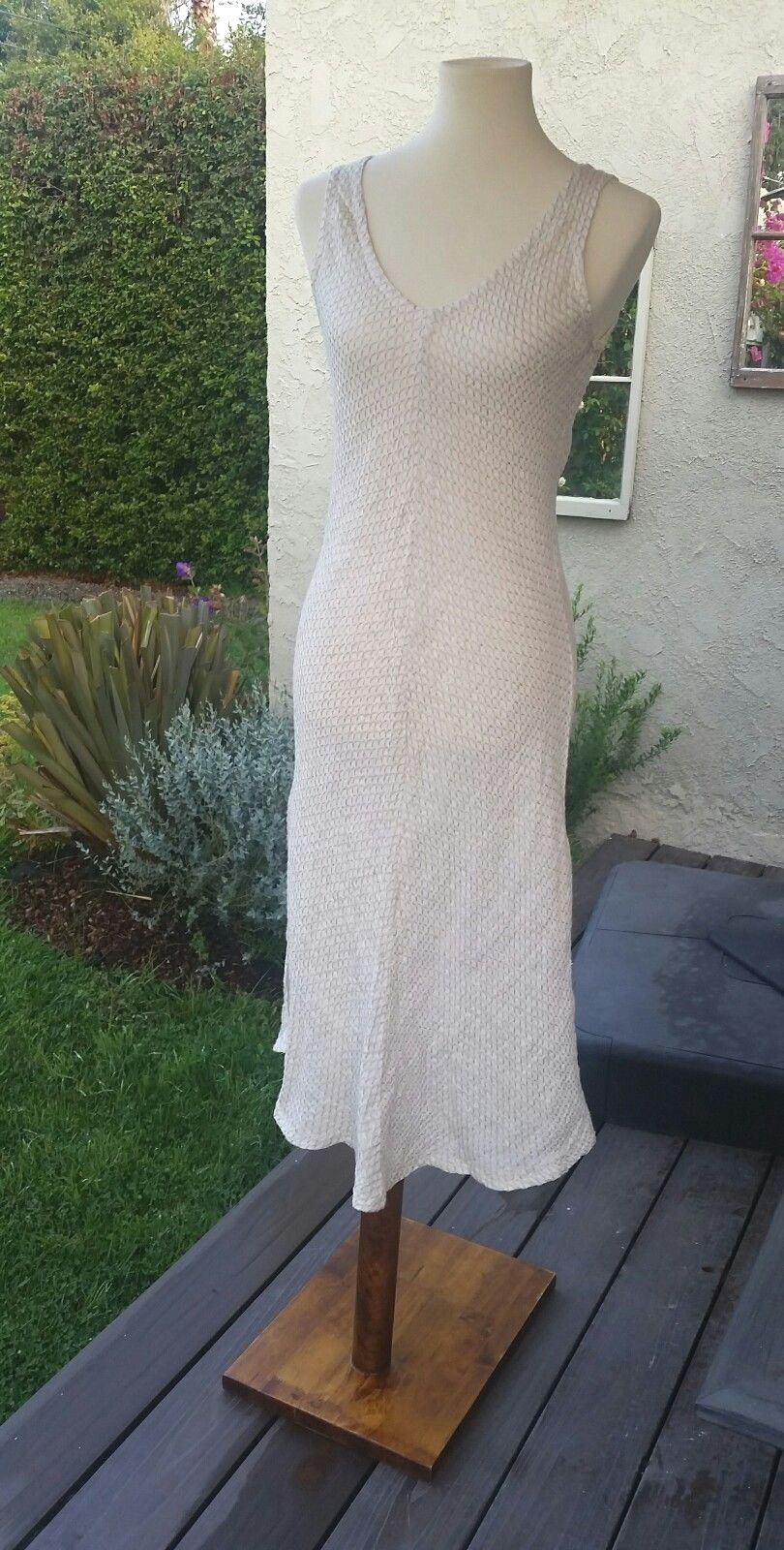 NWT Beige Linen Dress made in   - large large large medium 05dcf3