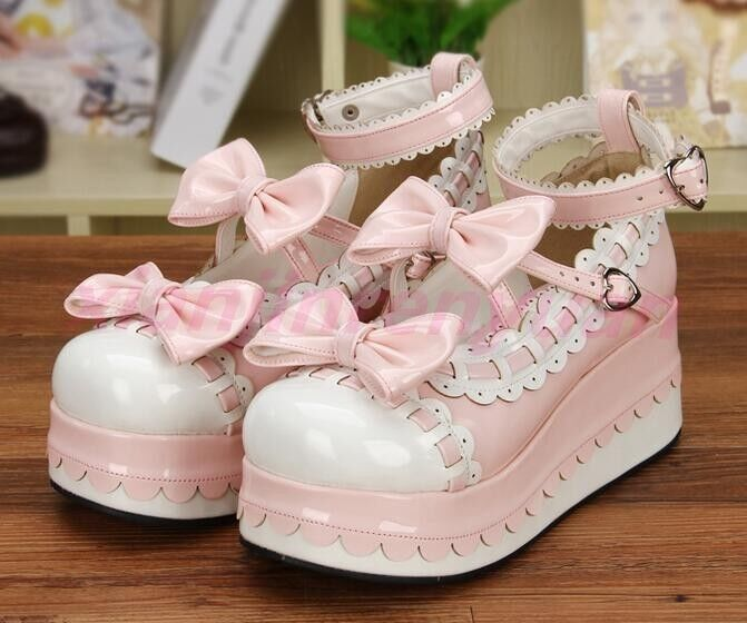 Women Bowknot Creeper Buckle Mary Janes Strap Lolita Round Toe Carved shoes Sexy