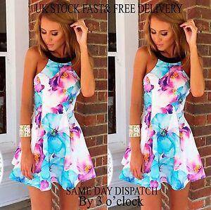 c15da707490 Women Summer Beach Short Floral Holiday Mini Dress Ladies Evening ...