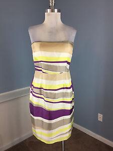BANANA-REPUBLIC-S-6-Purple-Yellow-Sheath-Strapless-Cocktail-Dress-SIlk-Stripe