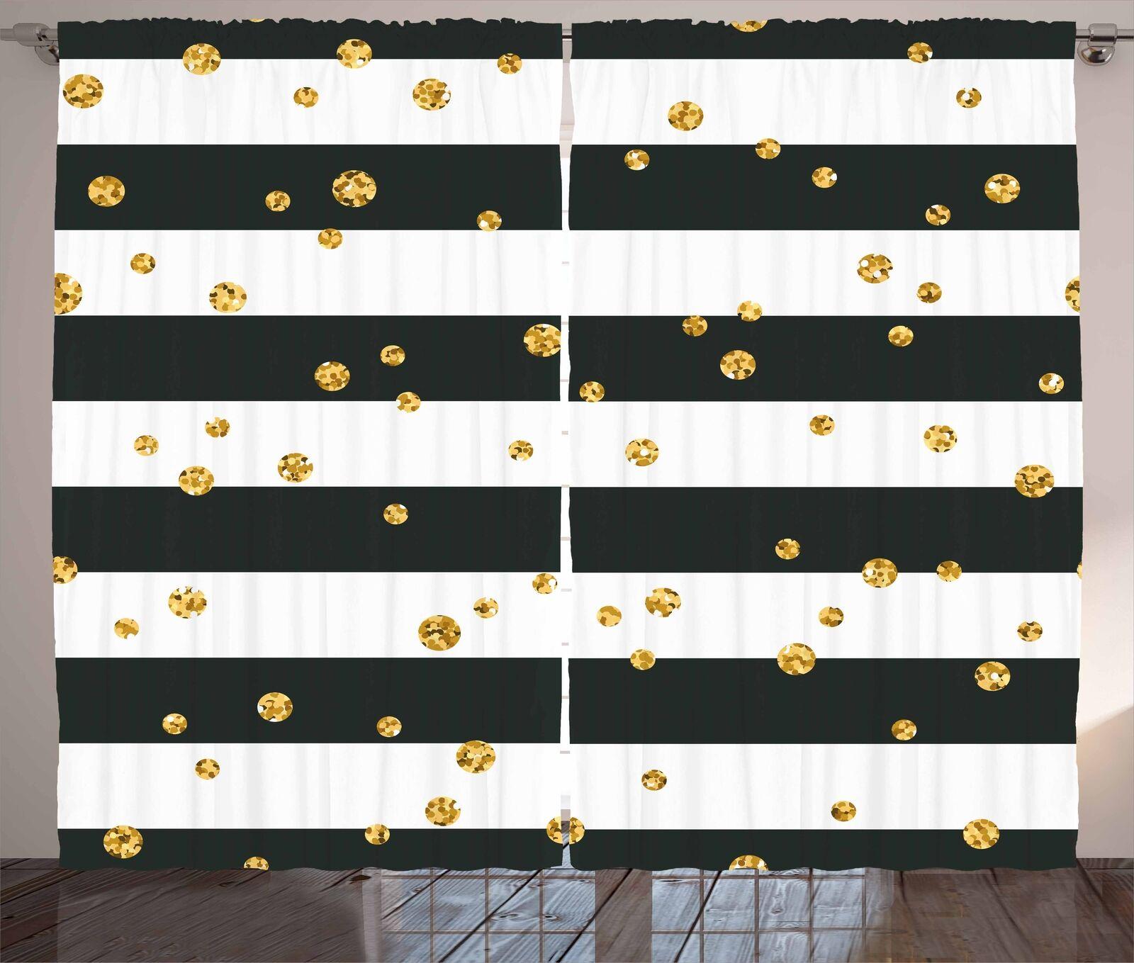 Cortinas blancoo y oro líneas audaces puntos Ventana Cortinas 2 pulgadas Panel Set 108x84