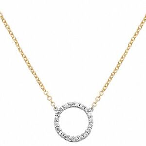 Ladies-Gold-Necklace-Yellow-Gold-Open-Circle-CZ-Necklace-With-Adjustable-Chain