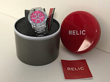NEW ARRIVAL! RELIC BETH PINK DIAL CRYSTALS GLITZ SILVER-TONE WATCH $75 ZR15751