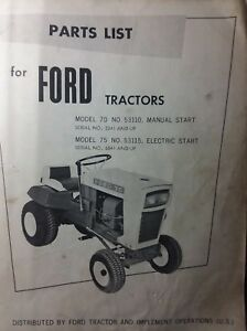 Details about Ford 70 & 75 Riding Lawn Tractor 53110 53115 Parts Manual on