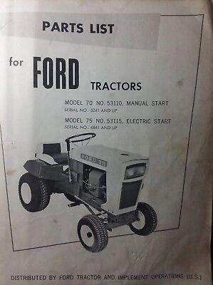 Ford 70 & 75 Riding Lawn Tractor 53110 53115 Parts Manual Jacobsen Oliver Ignition Wiring Diagram on