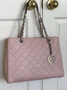 e6558f5c8175 Image is loading NWT-Michael-Kors-SUSANNAH-Quilted-Embossed-Leather-Large-