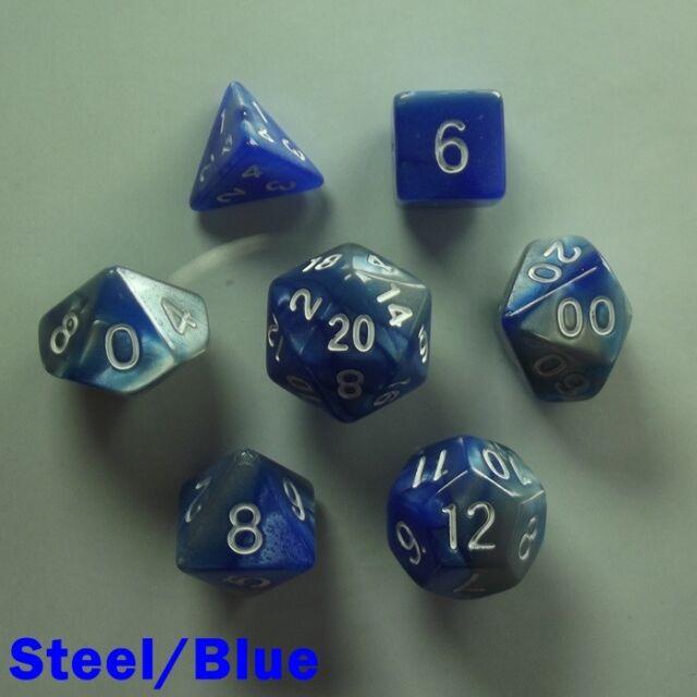 Bescon Mini Miniature Poly 7 Dice RPG Set Gemini Two Tone Steel Blue Pathfinder