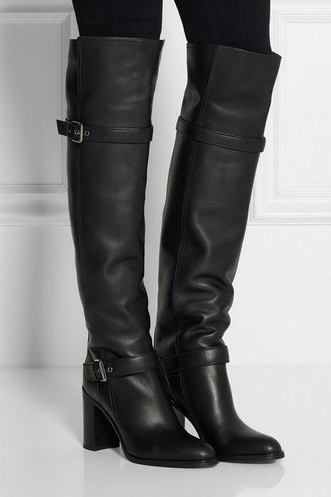 Womens Vintage High Block Heel Pull on Over Knee Leather Winter Boots Size 4-10