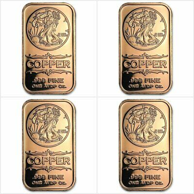 Coins & Paper Money Painstaking 4 X 1 Once Avdp Cuivre Pur 999 4 X Walking Liberty 1 Oz Avdp 999 Copper Bar Distinctive For Its Traditional Properties