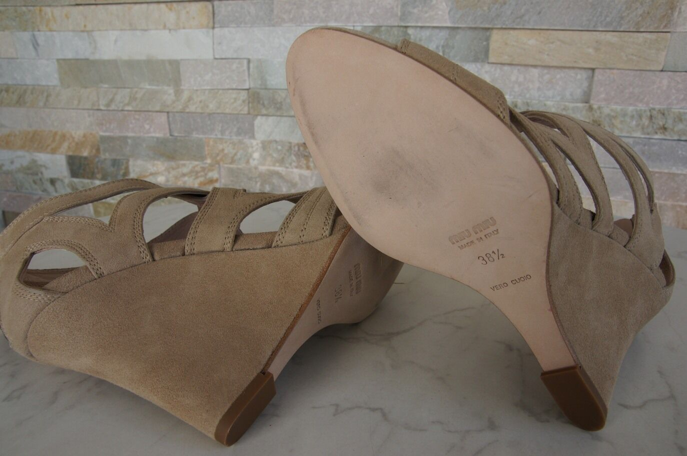Orig MIU Sandaletten MIU Gr 41 Keil Sandaletten MIU Sandales Wedges Schuhe schuhe sand NEU f4aad9