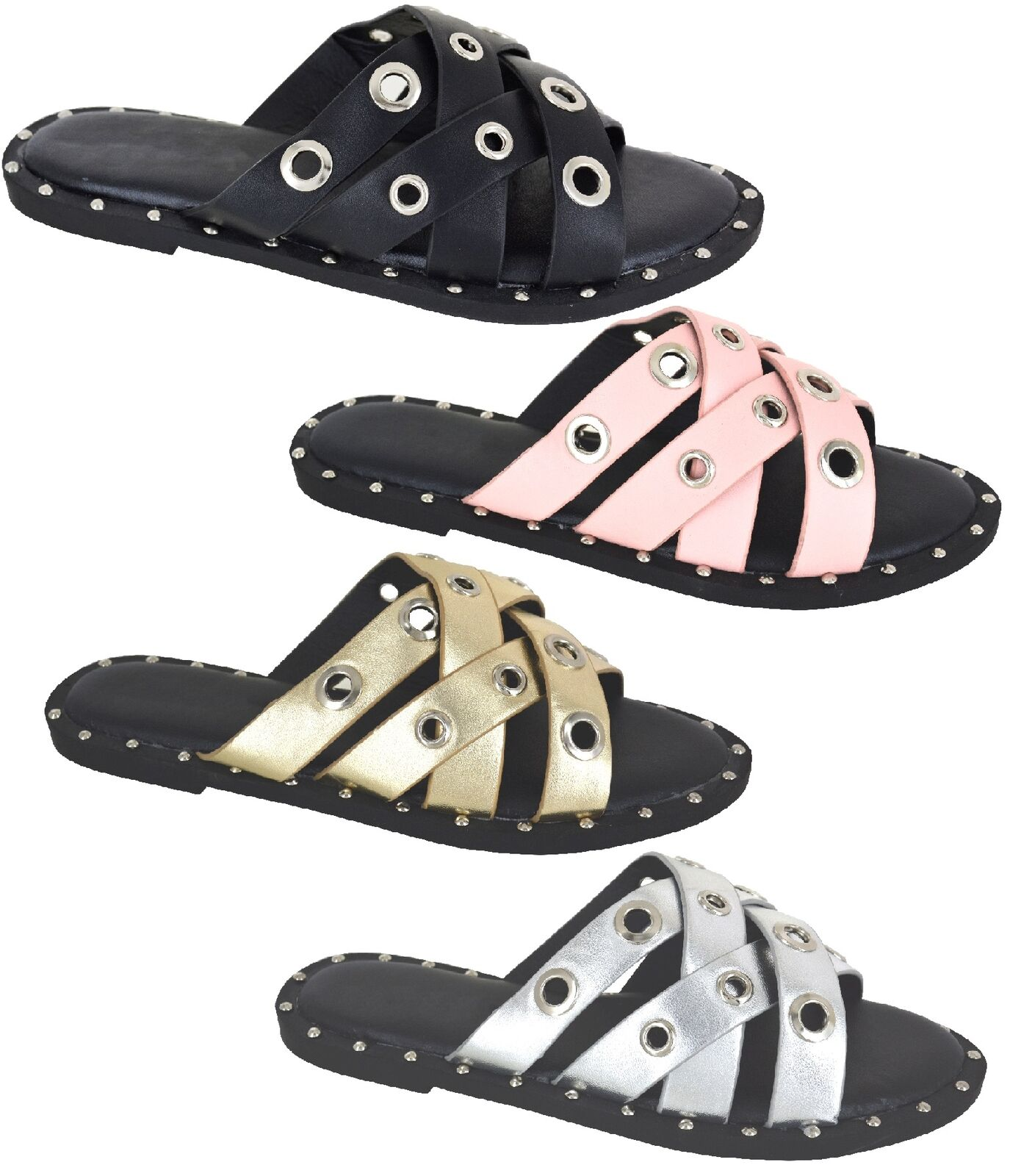 LADIES BEACH SUMMER SANDALS WOMENS HOLIDAY SLIP ON MULE SLIDER HOLIDAY WOMENS STUDDED SHOES SZ 90800d
