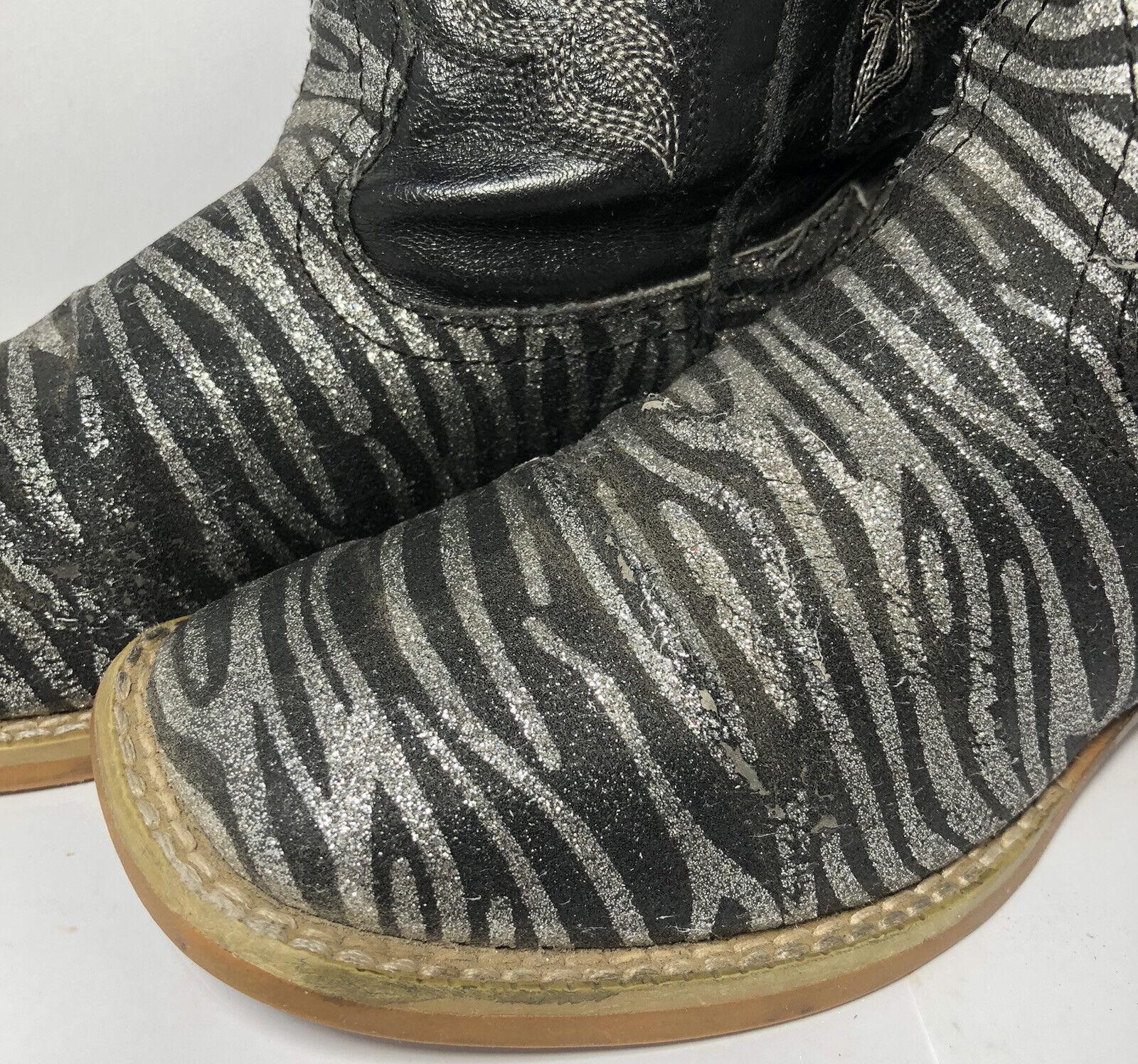 Roper Kids Black Zebra Print Cowboy Western Boots… - image 8