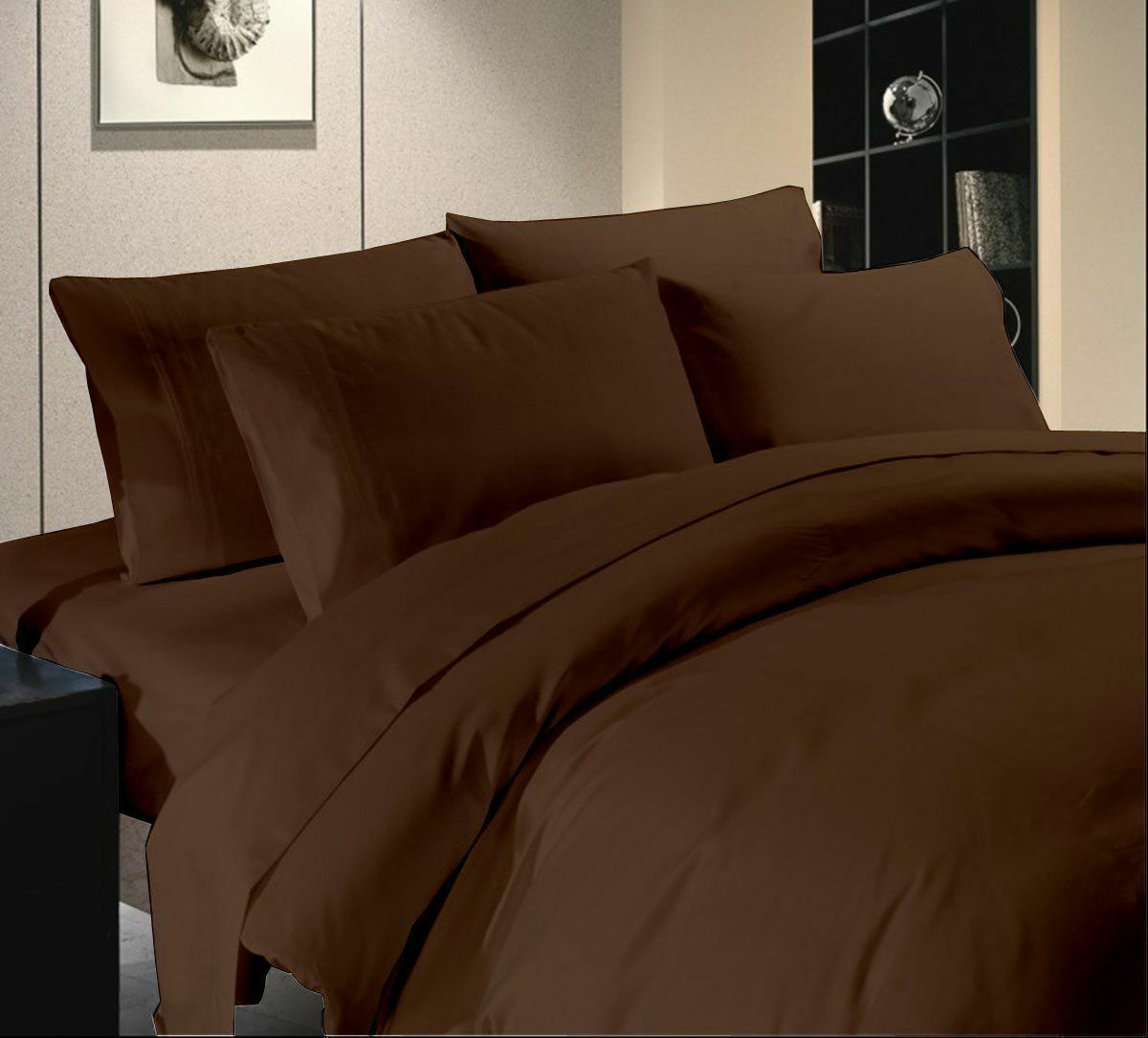 1000TC Egyptian Cotton 8,10,12,15 Inch Deep Pkt Chocolate Solid Bedding Items