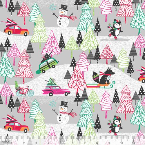 Mezcla de 1//2 yarda Tela ~ Cool YULE Parque Infantil Gris ~ árbol de Navidad Vacaciones