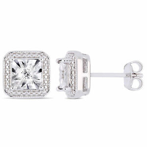 Amour Sterling Silver Diamond Square Halo Stud Earrings