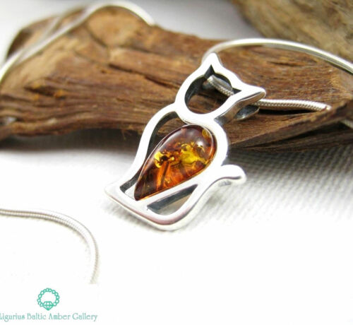 NATURAL BALTIC AMBER STERLING SILVER 925 PENDANT /& CHAIN NECKLACE CAT Certified