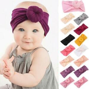 Baby-Maedchen-Kinder-Kleinkind-Bogen-Knoten-Haarband-Stirnband-Stretch-Turban