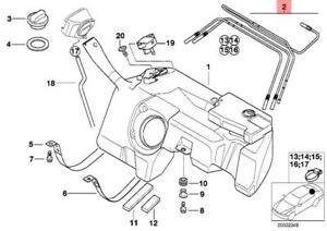 s l300 genuine bmw z3 coupe roadster plastic fuel tank pipe set oem