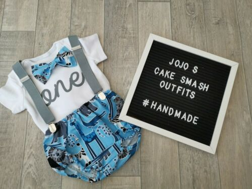blue and grey. Safari Baby Boys 1st Birthday Cake Smash Outfit// Prop animals