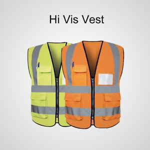 Haute Visibilité Gilet Orange Jaune Veste Sécurité Travail