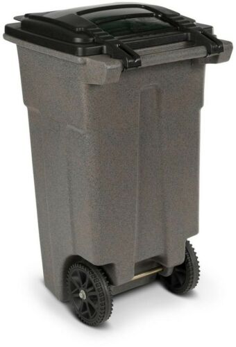 Trash Can 32 Gal Finger Print Resistant Greystone with Wheels and Attached Lid