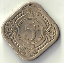 1943 NETHERLANDS 5 CENTS AU COIN DBW