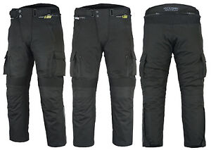 Mens-CE-Armoured-Cordura-Motorcycle-Motorbike-Waterproof-Cargo-Trousers-Pants