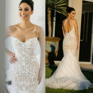 7582d91e Image is loading Sexy-Backless-Spaghetti-Strap-Wedding-Dress-Sheath -Applique-