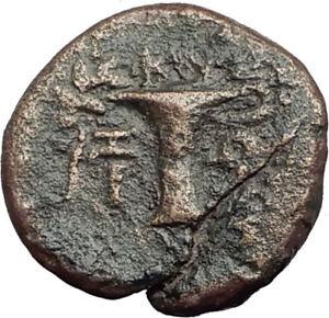 KYME-in-AEOLIS-Genuine-100BC-Authentic-Ancient-Greek-Coin-ARTEMIS-amp-VASE-i64247
