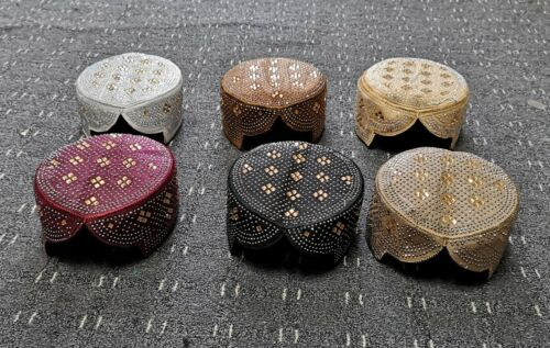 6pcTraditional Sindhi Style Caps//Topi//Taqiyah//\Kufic\Prayer Hat Various Designs