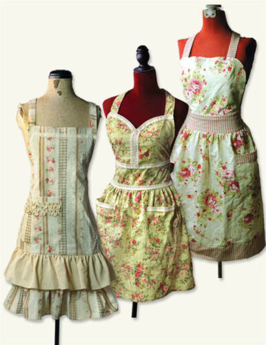 Vintage Aprons, Retro Aprons, Old Fashioned Aprons & Patterns    NOUVEAU VICTORIAN PRIMROSE PINAFORE APRON & Oven Mitt Dickens Steampunk SASS $29.95 AT vintagedancer.com