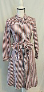 J-Crew-Tie-Front-Shirt-Dress-Button-Up-Red-White-Blue-Striped-4-MSRP-118-NEW