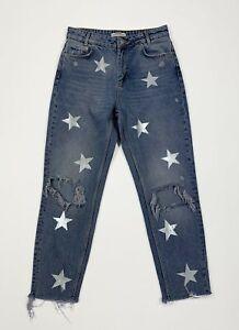 Stars-jeans-zara-donna-usato-destroyed-custom-W28-tg-42-denim-boyfriend-T4140