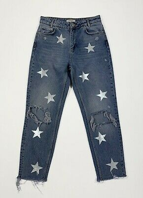 Guess jeans stars grey custom denim donna usato W28 tg 42 bianco boyfriend T5037