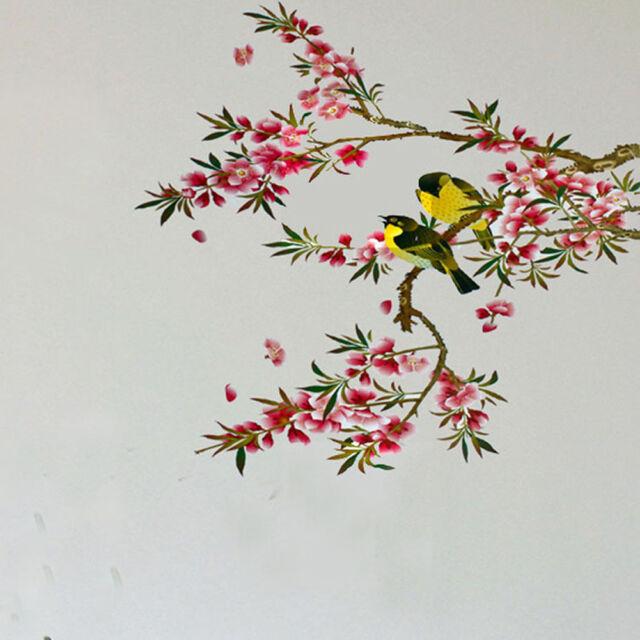 Removable Beautiful Flower Tree Birds Wall Sticker Vinyl Home Decor Art Decals