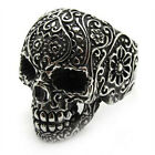 PUNK Men's Black gothic poker skull stainless steel silver flower finger ring CN