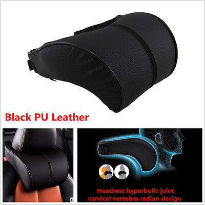 1xErgonomic Headrest Black PU Leather Auto Car Headrest Neck Rest Cushion Pillow
